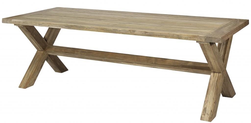 Teak tafel Terschelling 240x100cm Vintage look grey