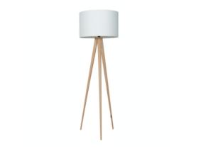Tripod wood vloerlamp wit