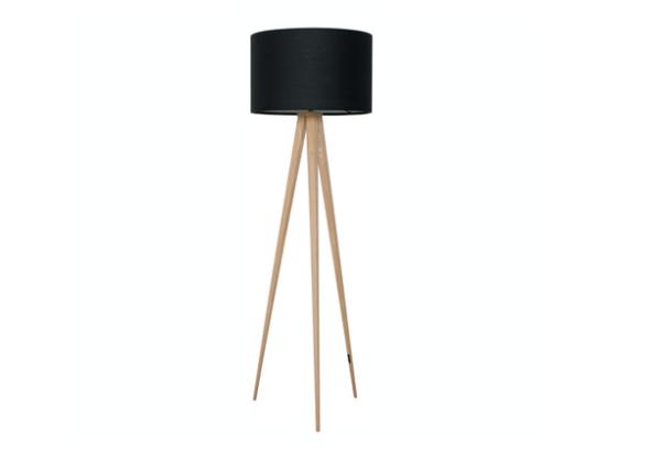 Tripod wood vloerlamp zwart