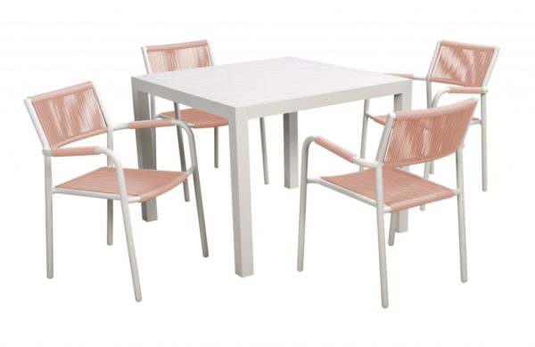 Shelley 5-delige diningset Beach 7 Club Collection White /Flamingo