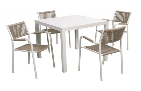 Shelley 5 delige diningset Beach 7 Club Collection White /Cappuccino