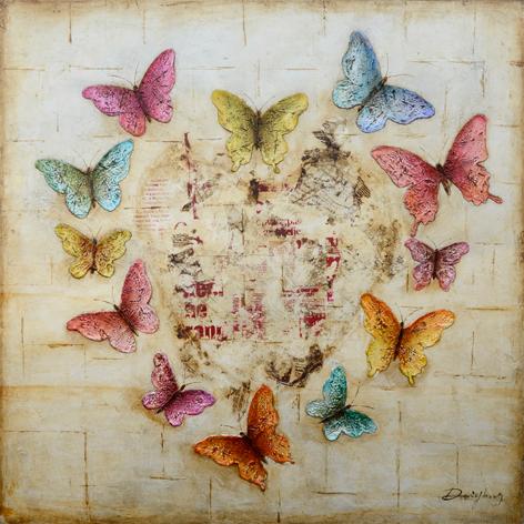 MondiArt Vlinders bruin 100x100cm