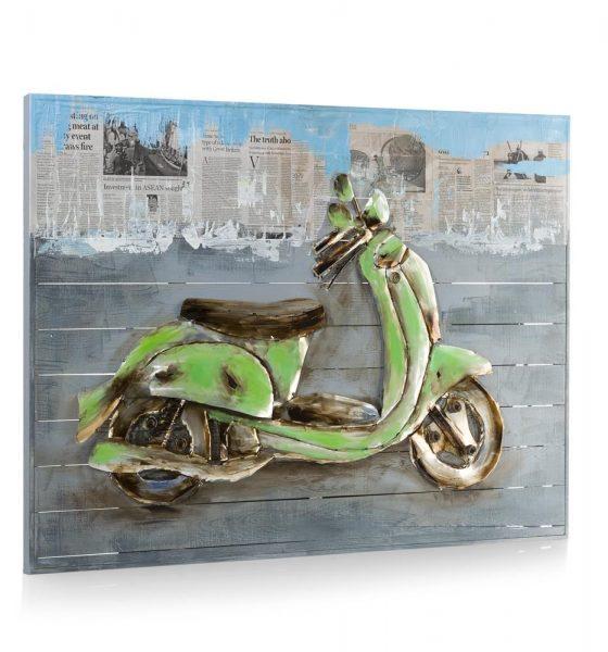 Youniq Schilderij Green Vespa - 90 X 120 Cm