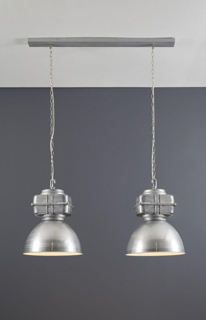 Hanglamp Industry - brushed alu dubbele kap