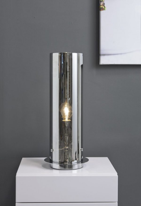Tafellamp tube chromed glass
