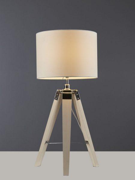 Tafellamp 3-poot hout wit