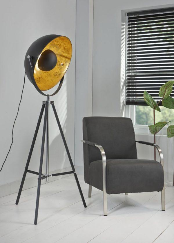 Vloerlamp 3-poot schijnwerper zwart