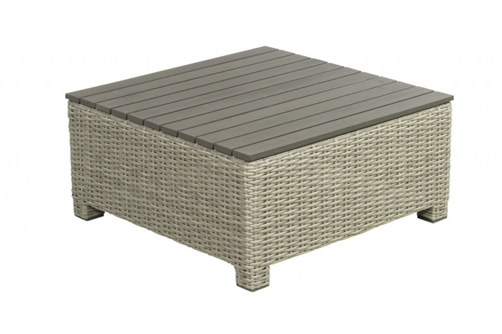Beach 7 Birdwood Footstool 76x76 cm Cloudy Grey Wicker
