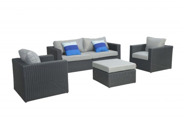 Beach 7 Lounge-Sofaset Bogota Mystic Grey Wicker
