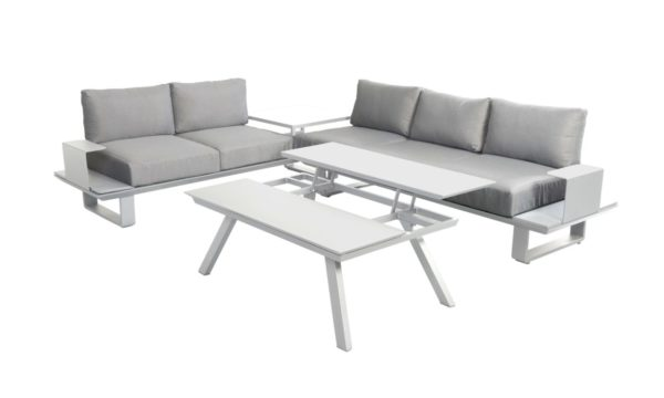 Beach 7 Loungeset Bridge Aluminium White