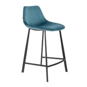 Dutchbone Franky counterstool velvet blauw