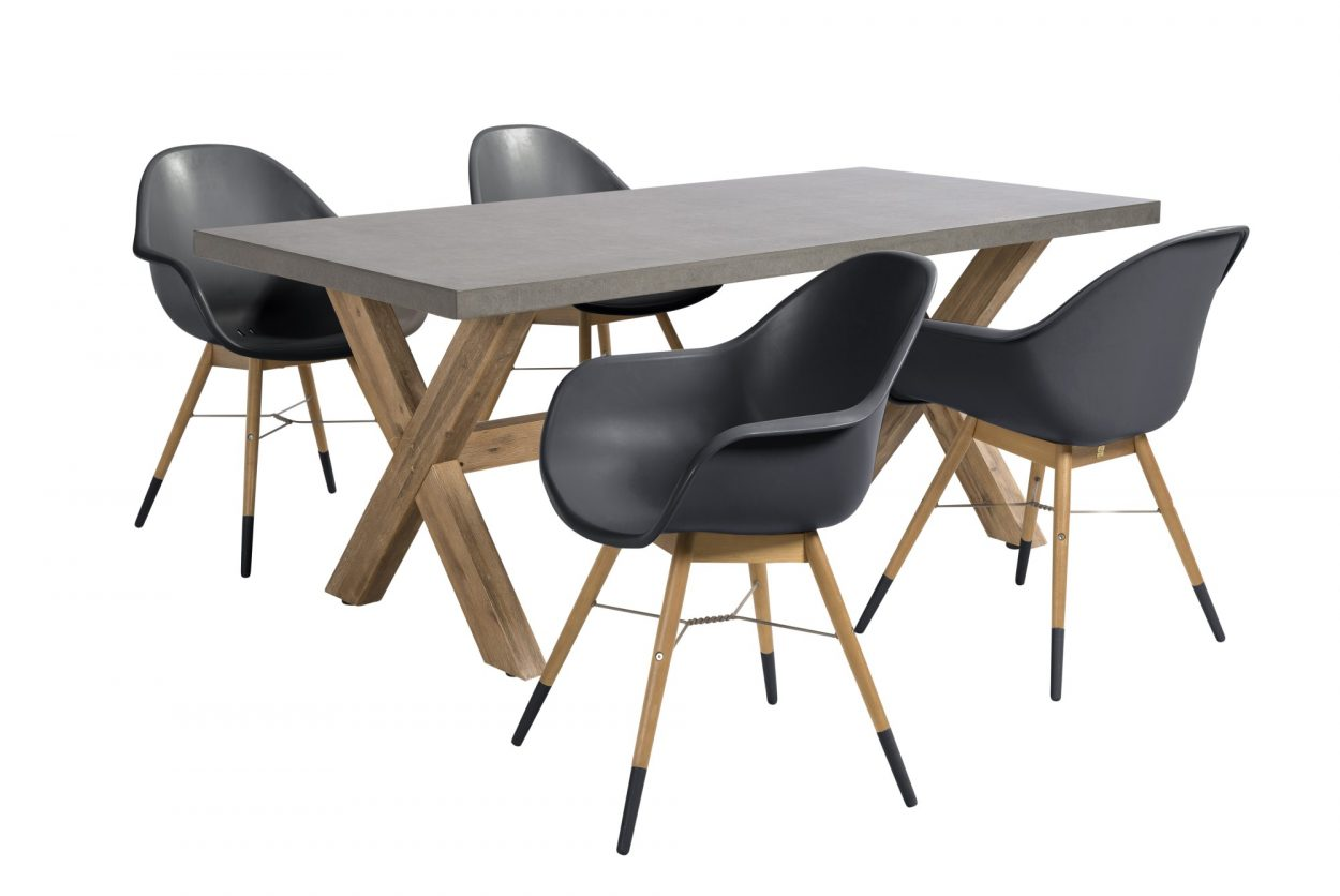 Beach 7 Diningset Chamonix 5-delig Dark Grey
