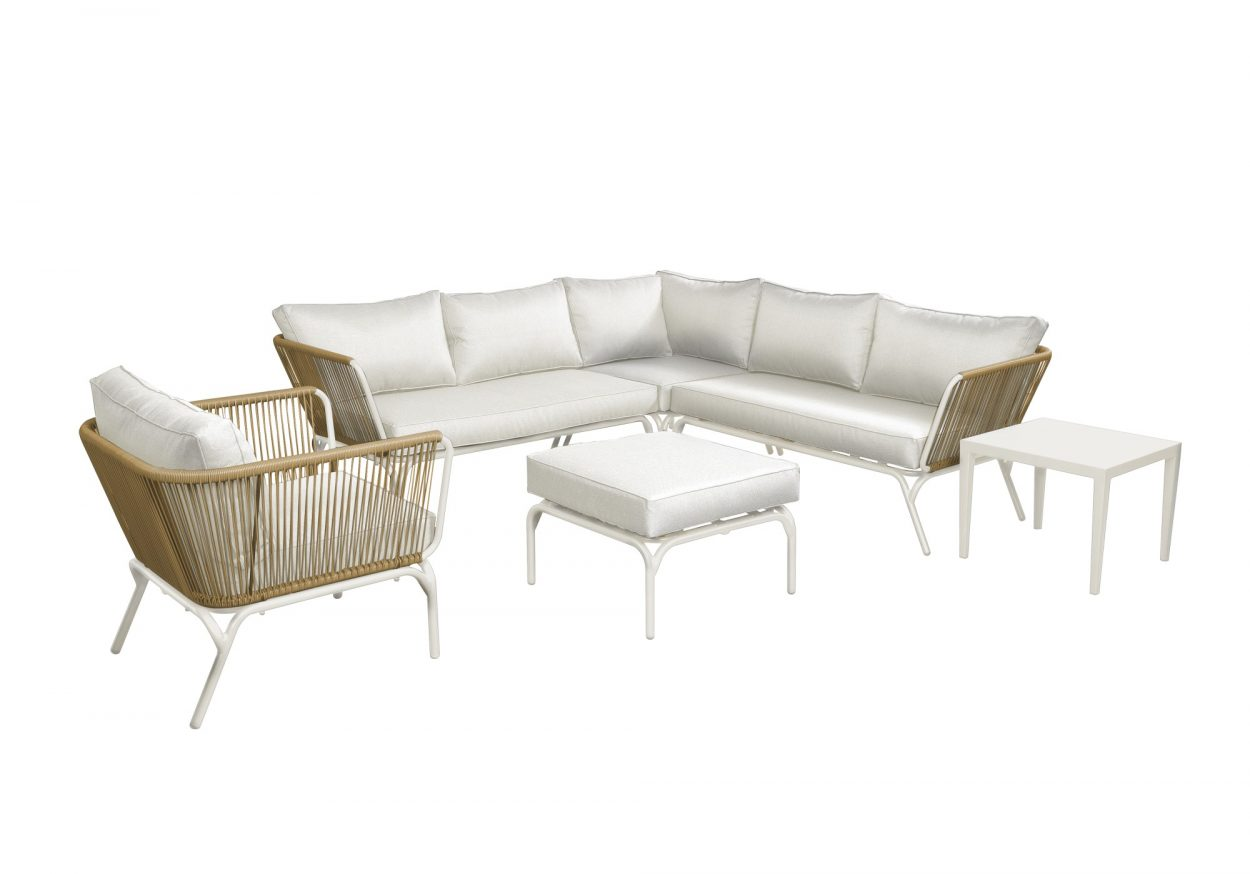 Beach 7 Loungeset Breeze Wit-Naturel 4-delig