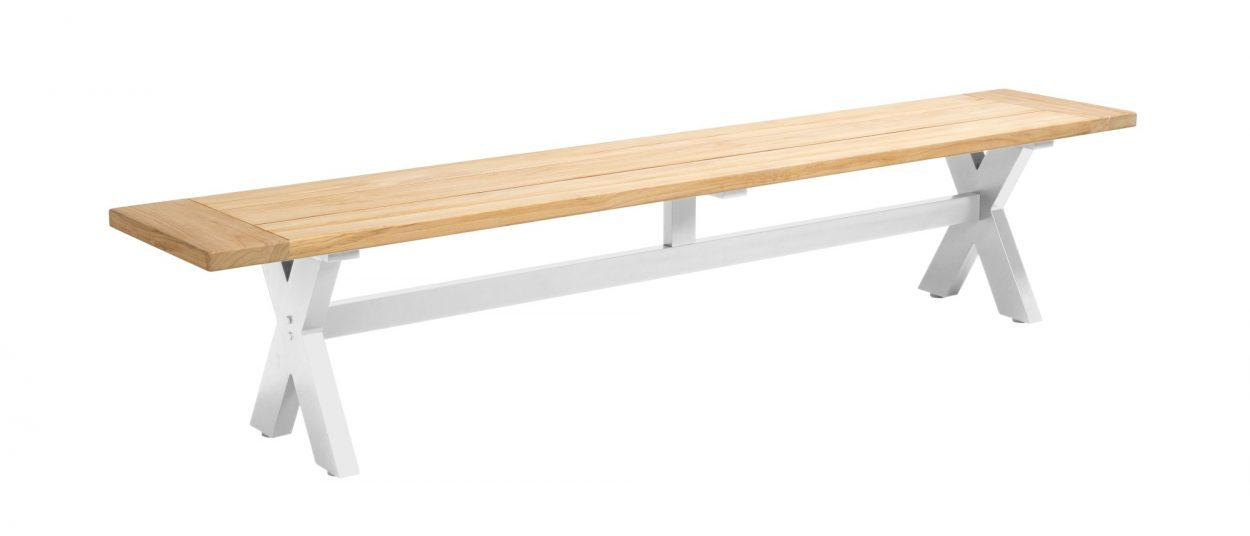 Beach 7 Moonlight Sportbench 220 cm Teak-Aluminium White