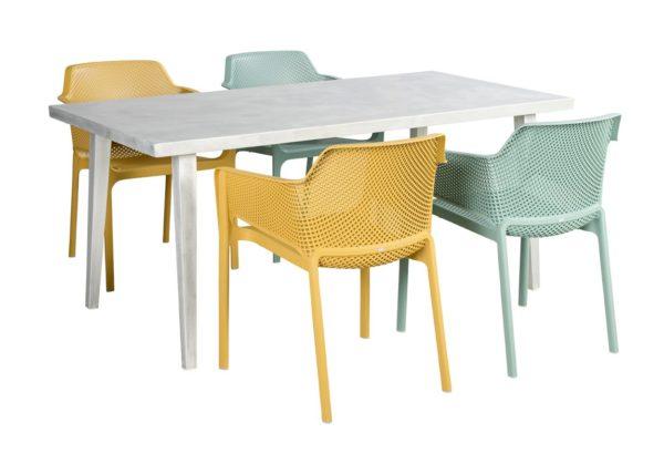 Beach 7 Tuinset Net Chair Nardi 5-Delig Blanc Tafel