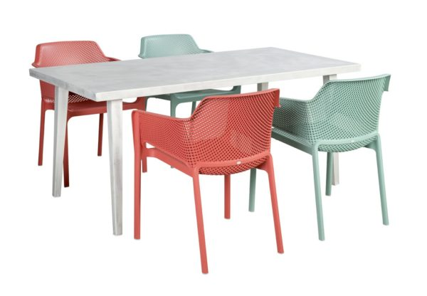 Beach 7 Diningset Net Chair Nardi 5-Delig Blanc Tafel