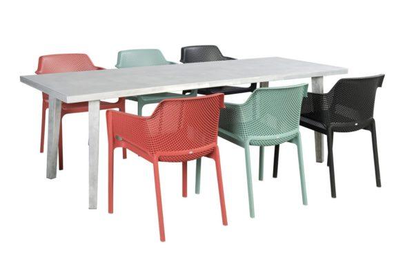 Beach 7 Diningset Net Chair Nardi 7-Delig Blanc Tafel
