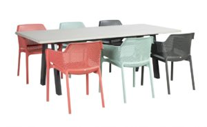 Beach 7 Diningset Bretagne Beton 220x100x3 cm Nardi Net Chair