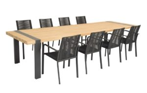 Beach 7 Diningset Butterfly Twilight Black Teak 9-Delig
