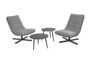 Beach 7 Loungeset Papagayo 4-Delig Black Stone Grey Aluminium