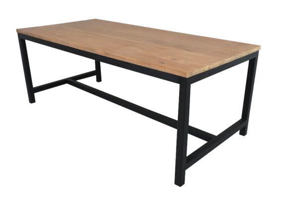 Yukon Eettafel 200x95 cm Teak Metaal Zwart