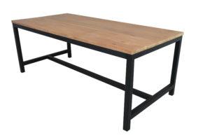 Yukon Eettafel 220x95 cm Zwart Metaal Teak