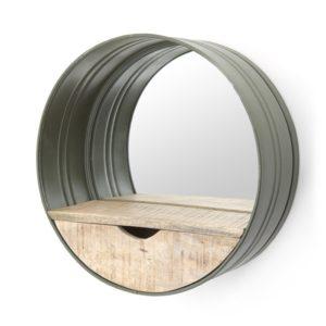 by boo spiegel rond met lade groen