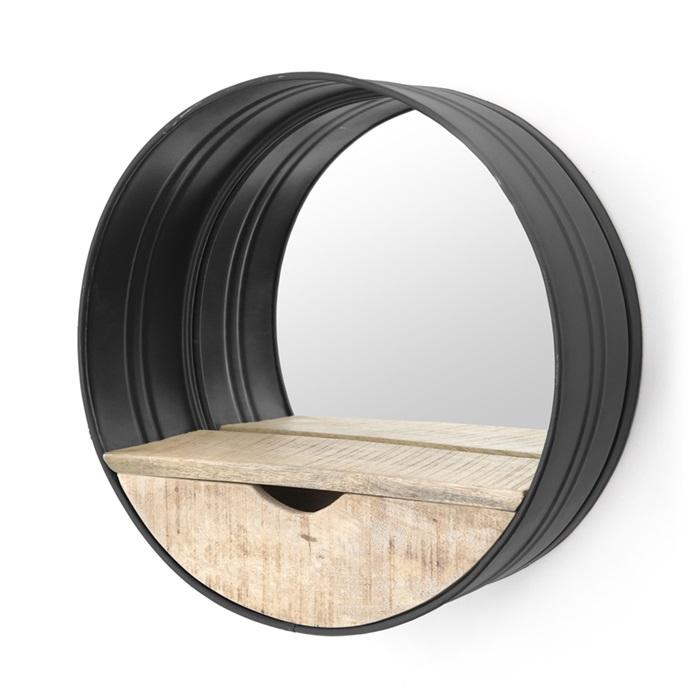 by boo spiegel rond met lade zwart vivaldi xl zevenaar. Black Bedroom Furniture Sets. Home Design Ideas