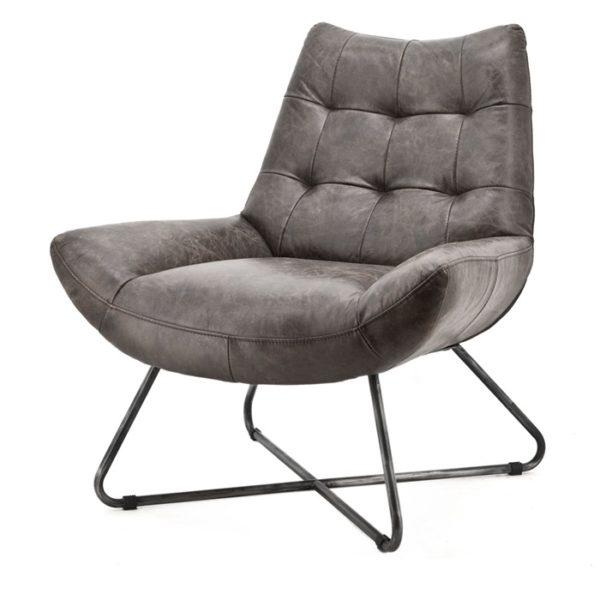 eleonora pedro fauteuil antraciet vintage leder