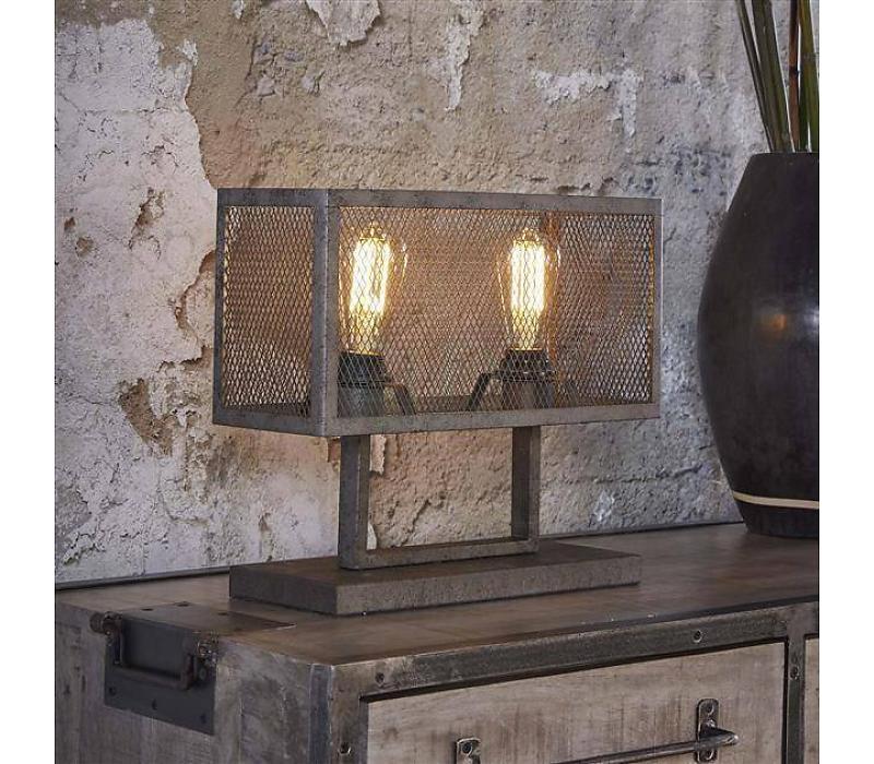 raster tafellamp rechthoek oud zilver