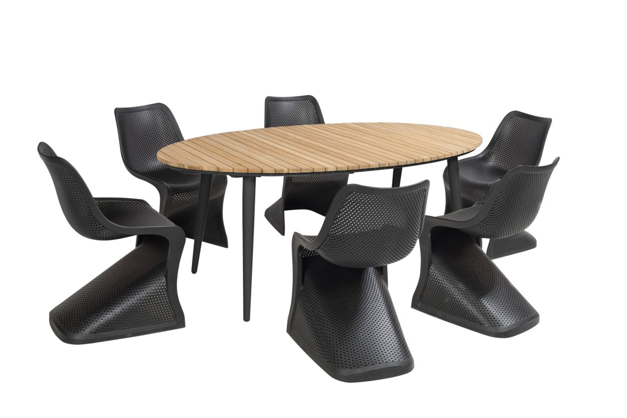 Beach 7 Diningset Bloom Fontelina Zwart 7-Delig