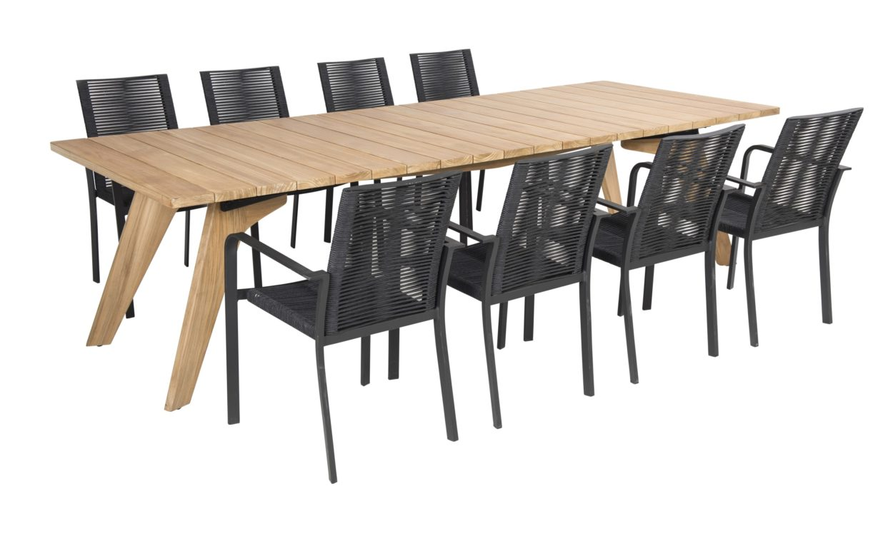 Beach 7 Tuinset Butterfly Bo Black Teak 9-Delig