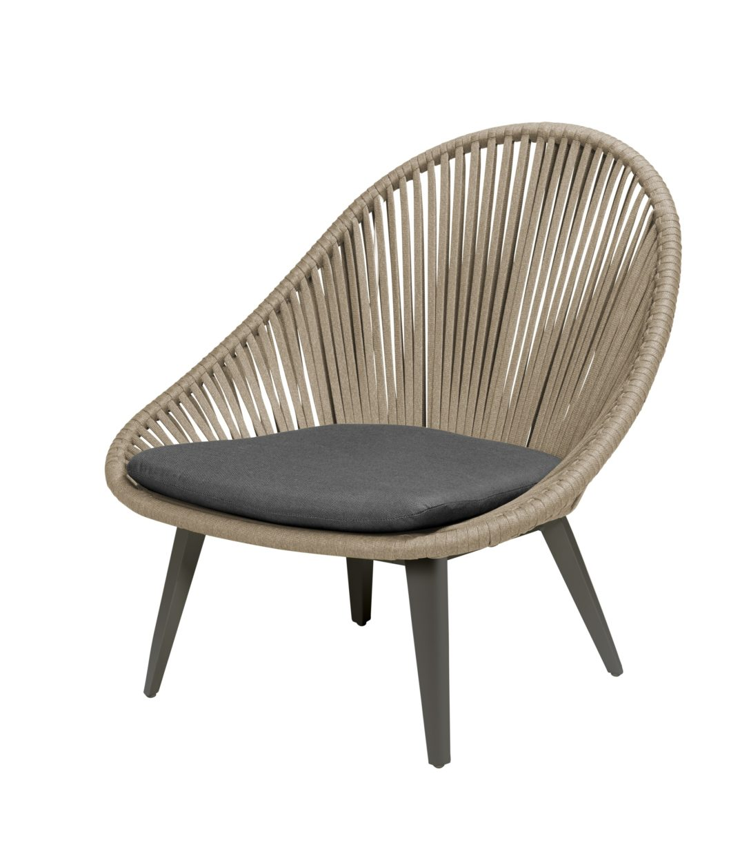 Beach 7 Loungechair Dino Egg Aluminium Rope Khaki