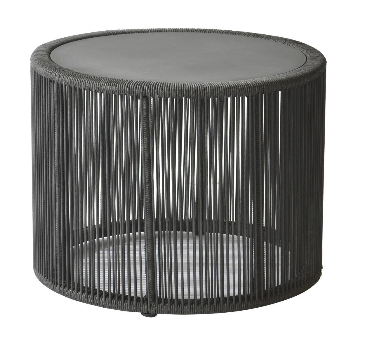 Borek Lagos Side Table Dark Grey Rope 59x45.5 cm