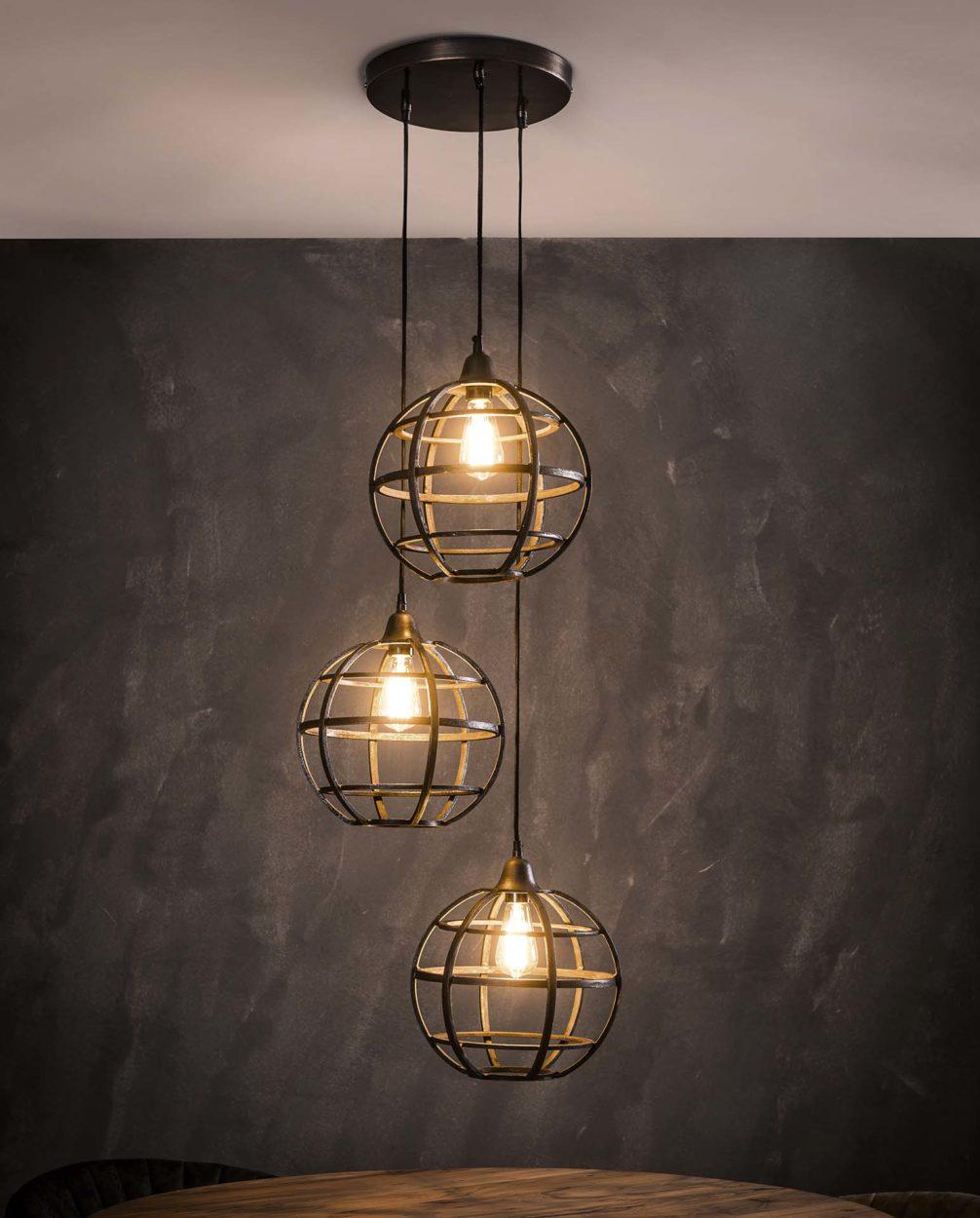 Globe hanglamp getrapt antiek koper finish