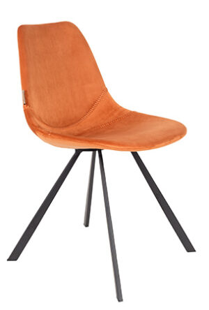dutchbone franky eetkamerstoel velvet oranje