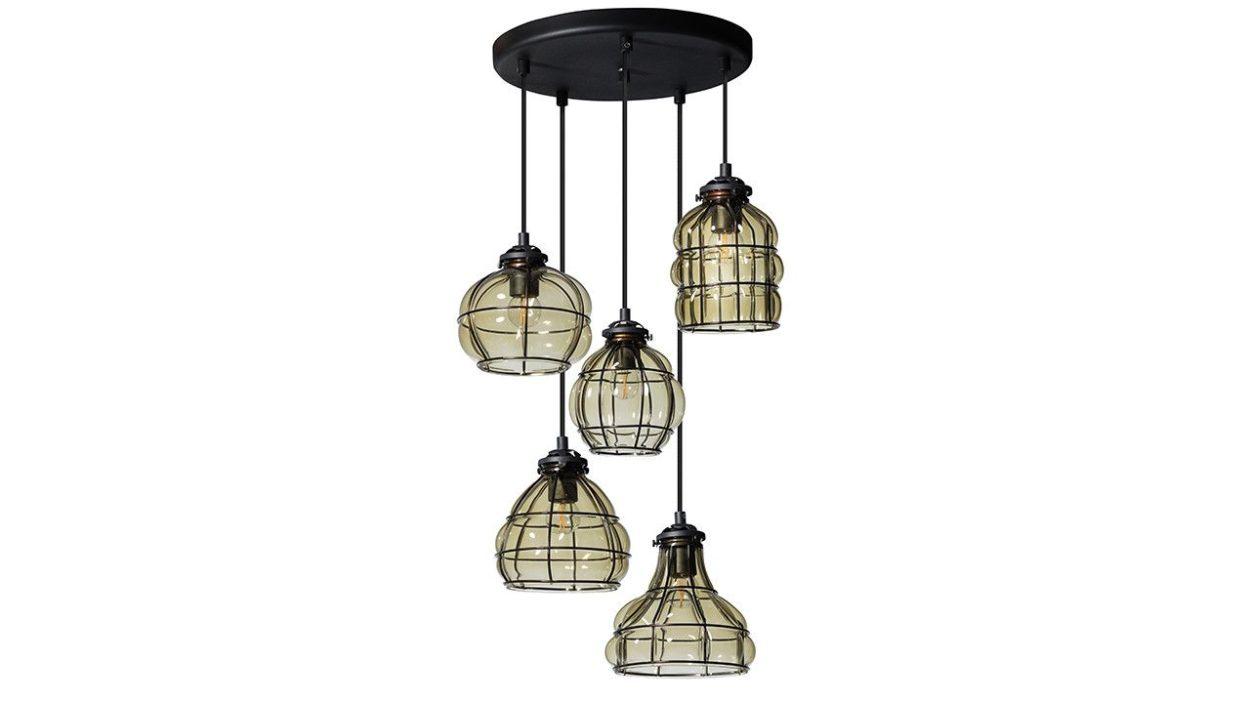 Hanglamp 5 Lampen : Smokey venice hanglamp lichts vivaldi xl zevenaar