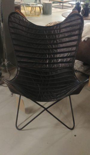 Butterfly chair donkerbruin leer showroommodel