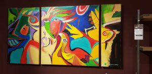 Schilderij op canvas abstract 3 luik showroommodel