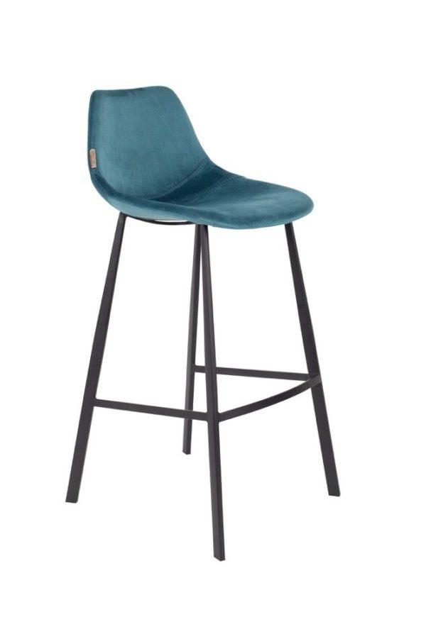 Dutchbone Franky barstoel velvet petrol - 10% korting bij 4 stoelen of meer