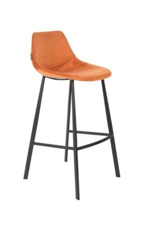 Dutchbone Franky barstoel velvet oranje - 10% korting bij 4 stoelen of meer