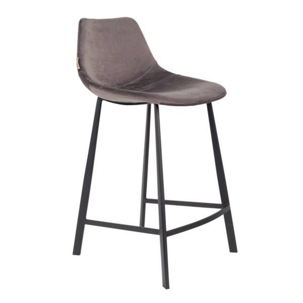 Dutchbone Franky counterstool velvet grijs