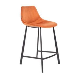Dutchbone Franky counterstool velvet oranje
