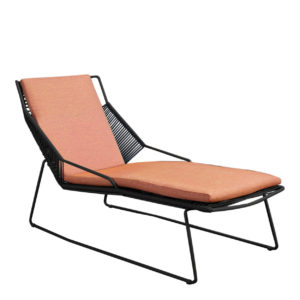Beach7 Lounger Papillon Rope Black Salmon