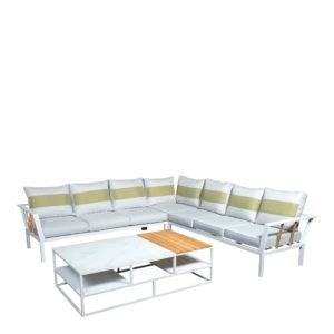 Beach7 Loungeset Central Aluminium White Teak