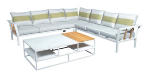 Beach7 Loungeset Central Aluminium White Teak