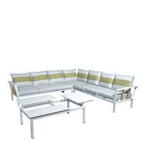 Beach7 Hoek Loungeset Central Aluminium Teak