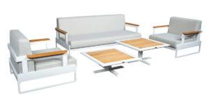 Beach7 Tuinset Lounge Cube Aluminium Teak 5-Delig