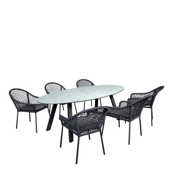 Beach7 Tuin Diningset Queens Corona Ovaal Black