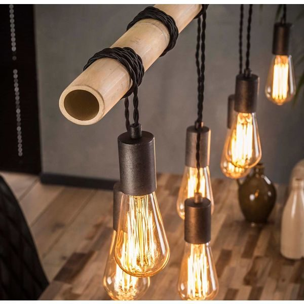Bamboo wikkel hanglamp 7 lichts detail